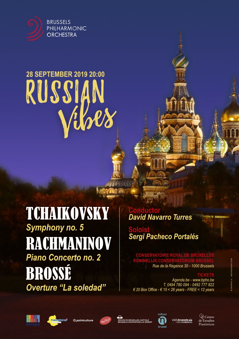 Affiche. Conservatoire. Brussels Philharmonic Orchestra|s Russian Vibes. 2019-09-28