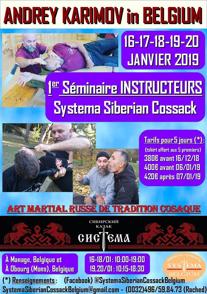 Affiche. Fayt-lez-Manage. Stage instructeurs Systema Siberian Cossack avec Andrey Karimov. 2019-01-16