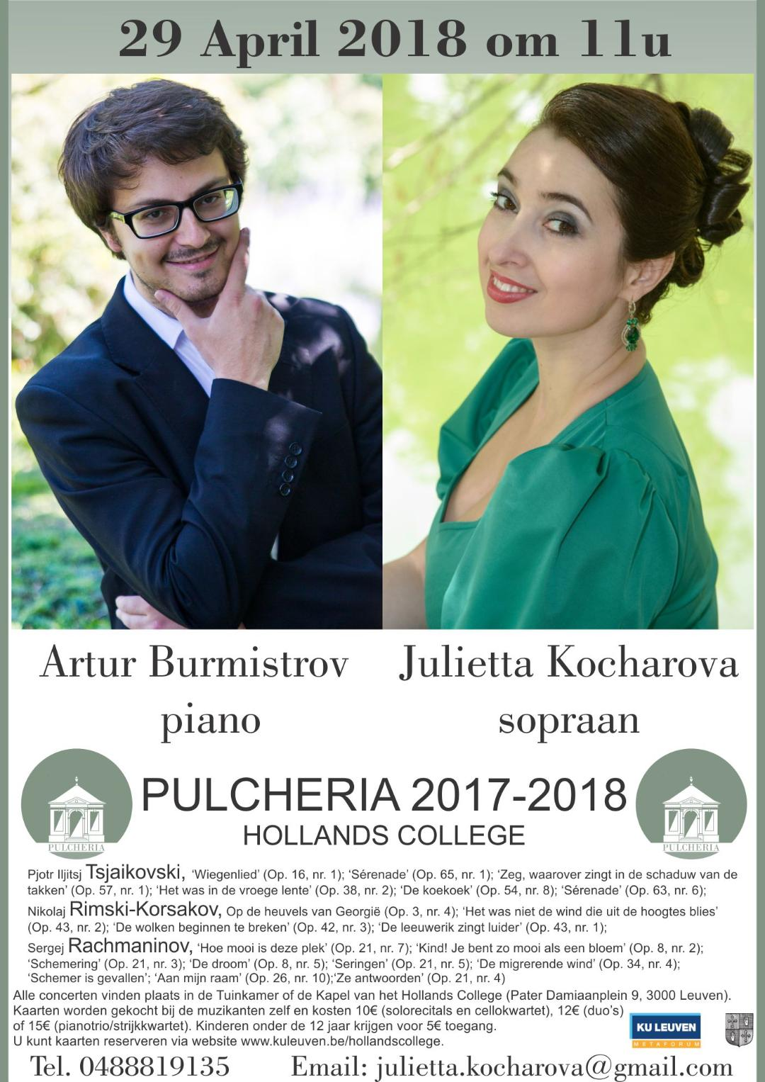 Affiche. Leuven. Romance is the soul of a Russian person. Artur Burmistrov (piano) and Julietta Kocharova (sopraan). 2018-04-29
