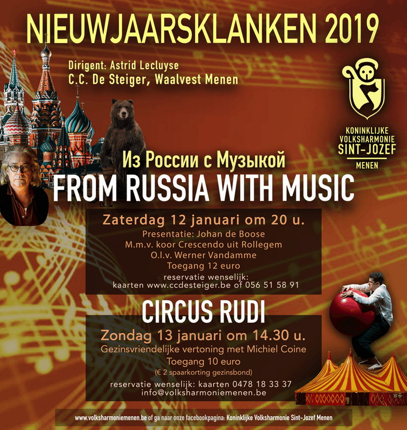 Affiche. Menen. Nieuwjaarsklanken 2019 from Russia with Music. O.l.v. Astrid Lecluyse. 2019-01-12