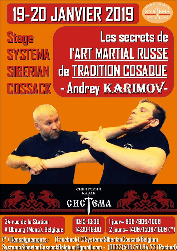 Affiche. Obourg. Stage - Les secrets de l'Art Martial Russe de Tradition Cosaque. 2019-01-19