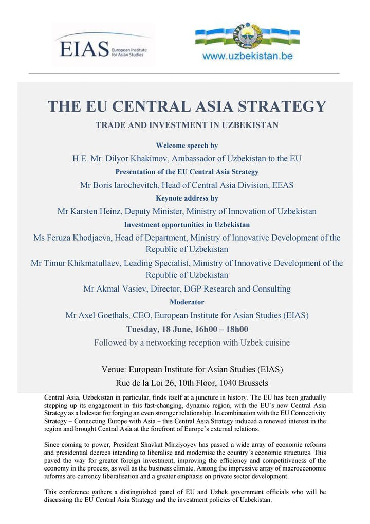 Affiche. The EU Central Asia Strategy Trade and Investment in Uzbekistan. 2019-06-18