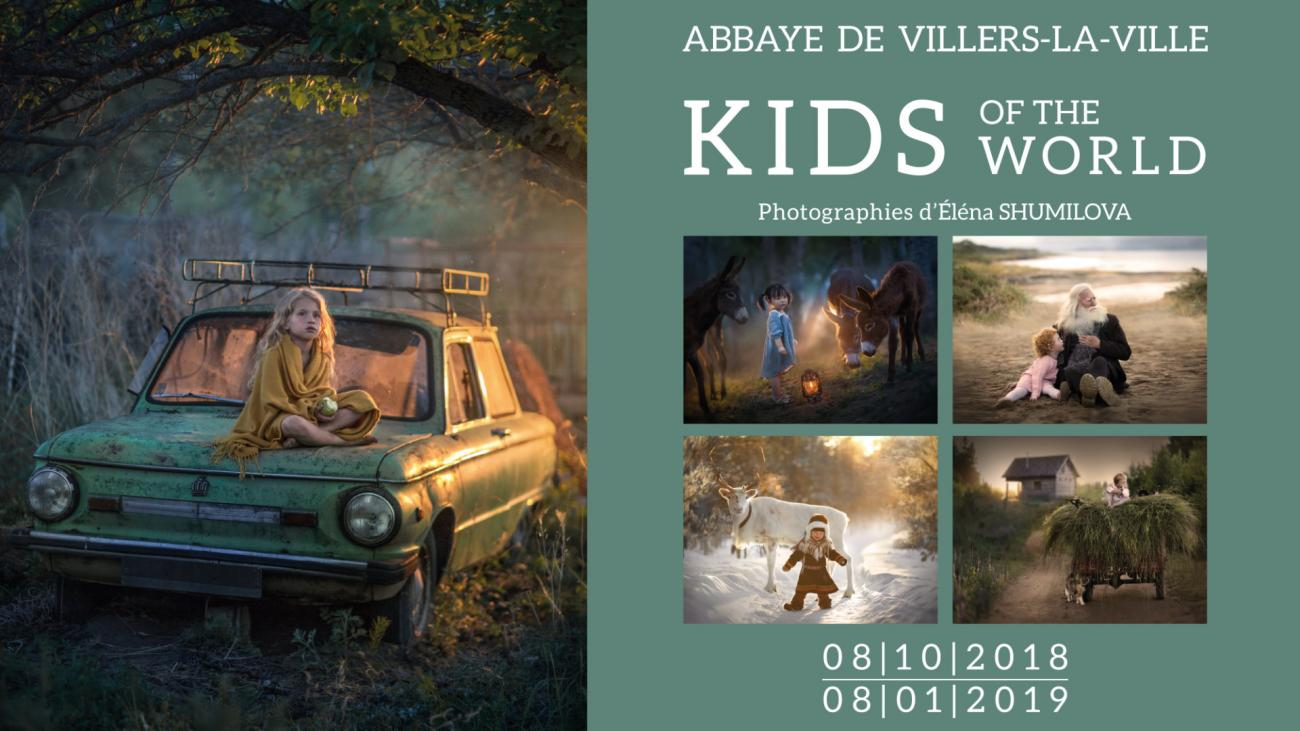 Affiche. Villers. Elena Shumilova expose 32 portraits d'enfants en grand format. Kids of the world. 2018-10-08