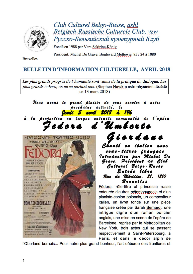 Bulletin CCBR - Club Culturel Belgo-Russe. Avril 2018. 2018-04-01