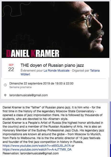 Bannière Facebook. Daniel Kramer -  the doyen of Russian piano jazz. 2019-09-22
