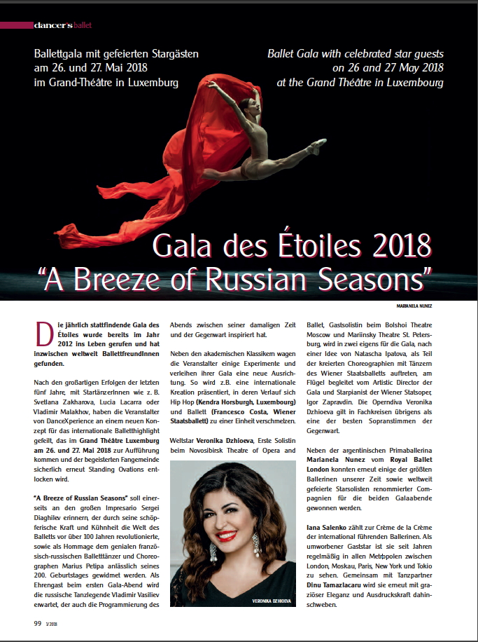 Illustration. Luxembourg. Gala des Etoiles 2018 « A Breeze of Russian Seasons ». Weltstar Veronika Dzhioeva. 2018-05-26