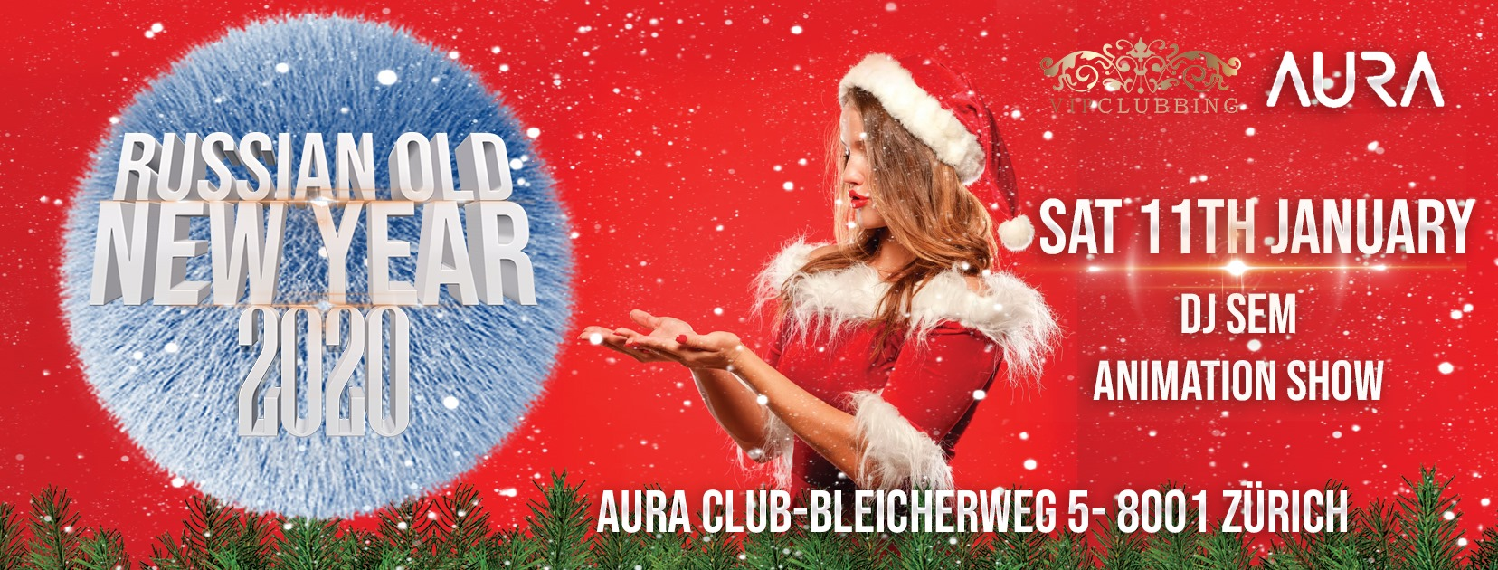 Illustration. Zürich. Vita Li en VIP Clubbing. Russian old New Year 2020. 2020-01-11
