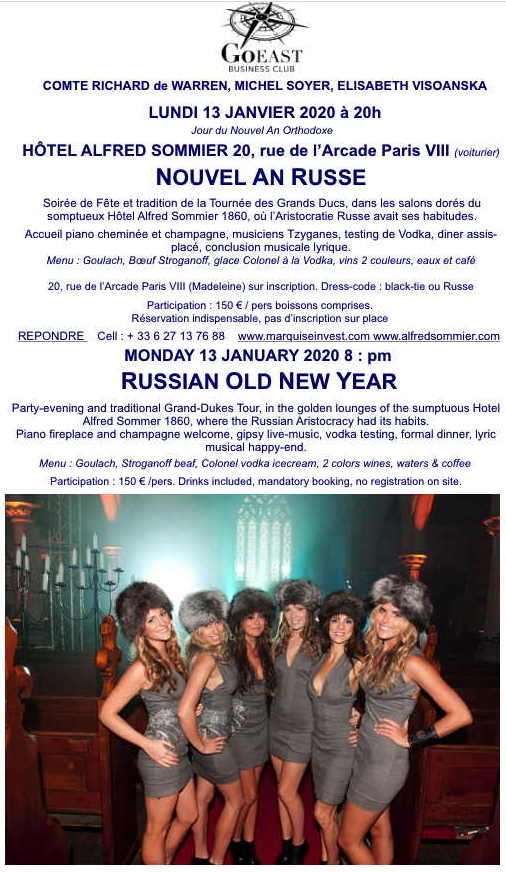 Invitation. Go East business Club. Nouvel An Russe. Russian Old New Year. 2020-01-13