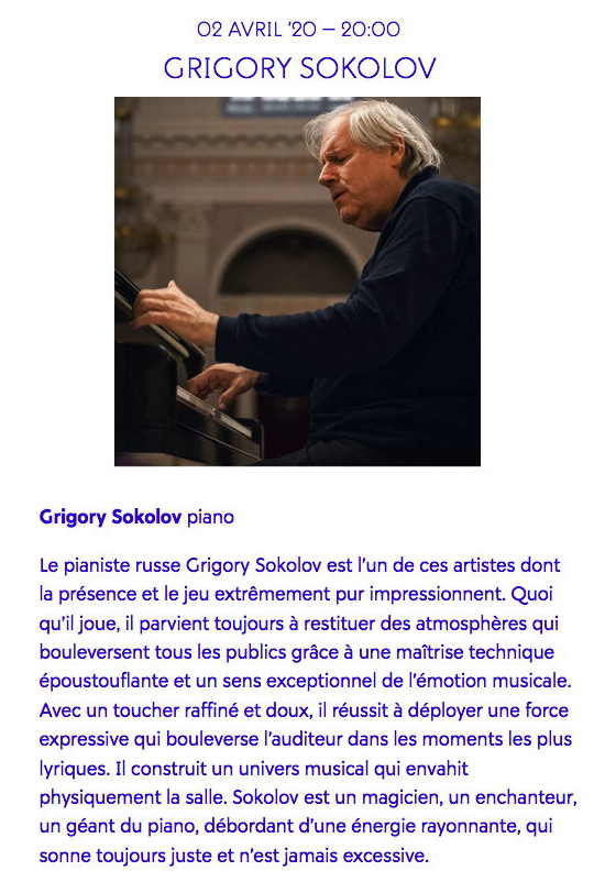 Page Internet. Beaux-Arts. Grigory Sokolov (piano) © Mary Slepkova. 2020-04-02