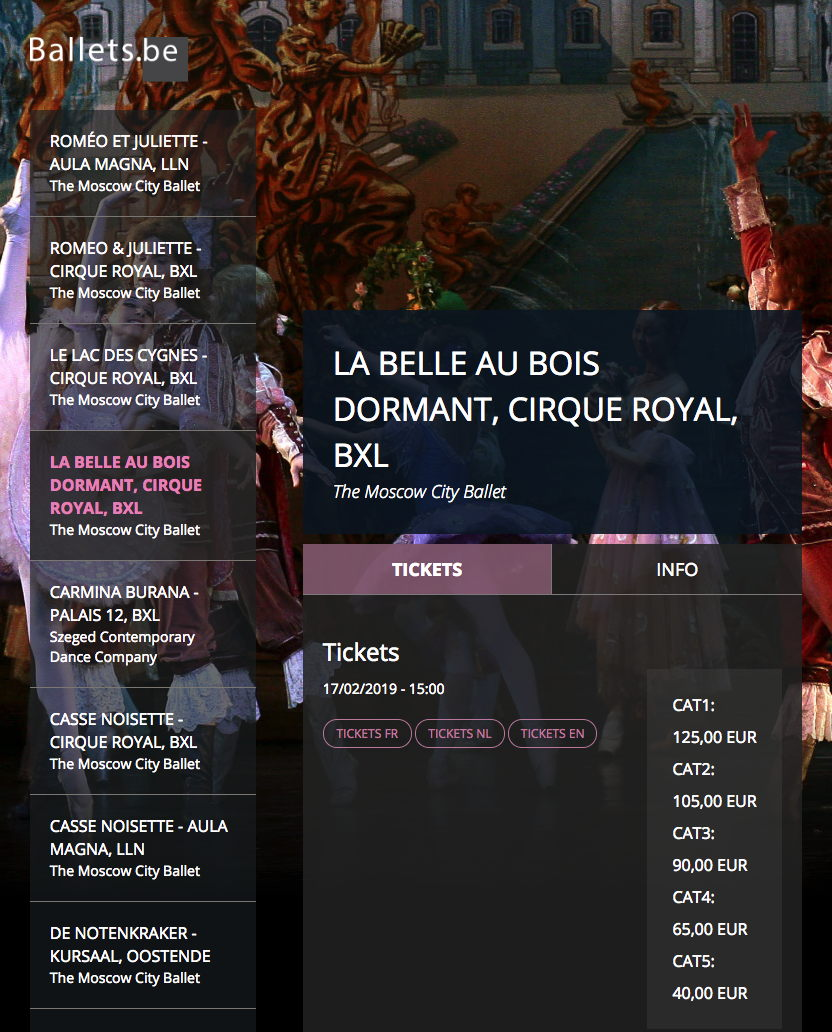Page Internet. Cirque Royal. Doornroosje (La belle au bois dormant). Moscow City Ballet. 2019-02-15