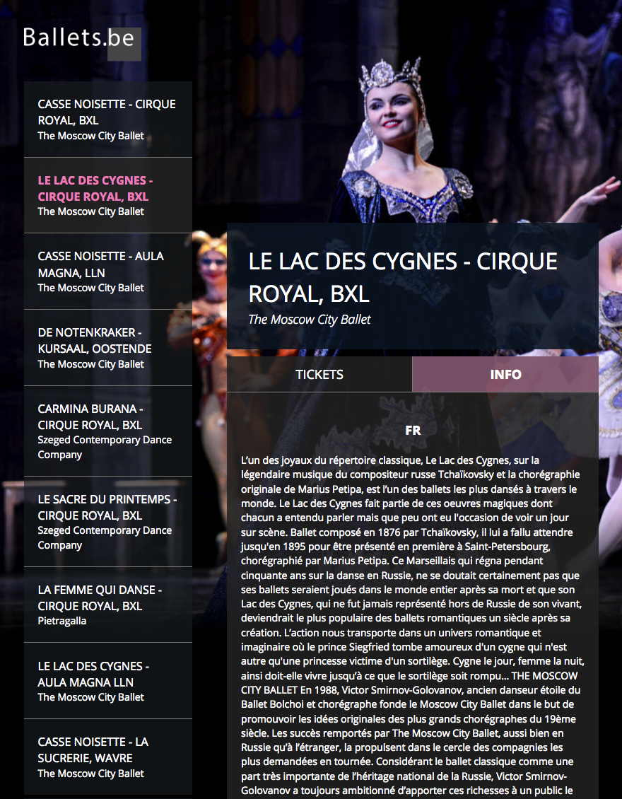 Page Internet. Cirque Royal. Le Lac des Cygnes - Cirque Royal, BXL. The Moscow City Ballet. 2019-12-05