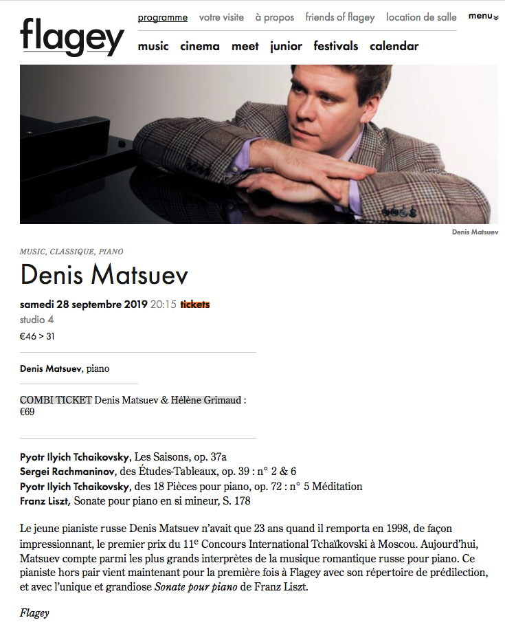 Page Internet. Flagey. Concert Denis Matsuev, piano. 2019-09-28