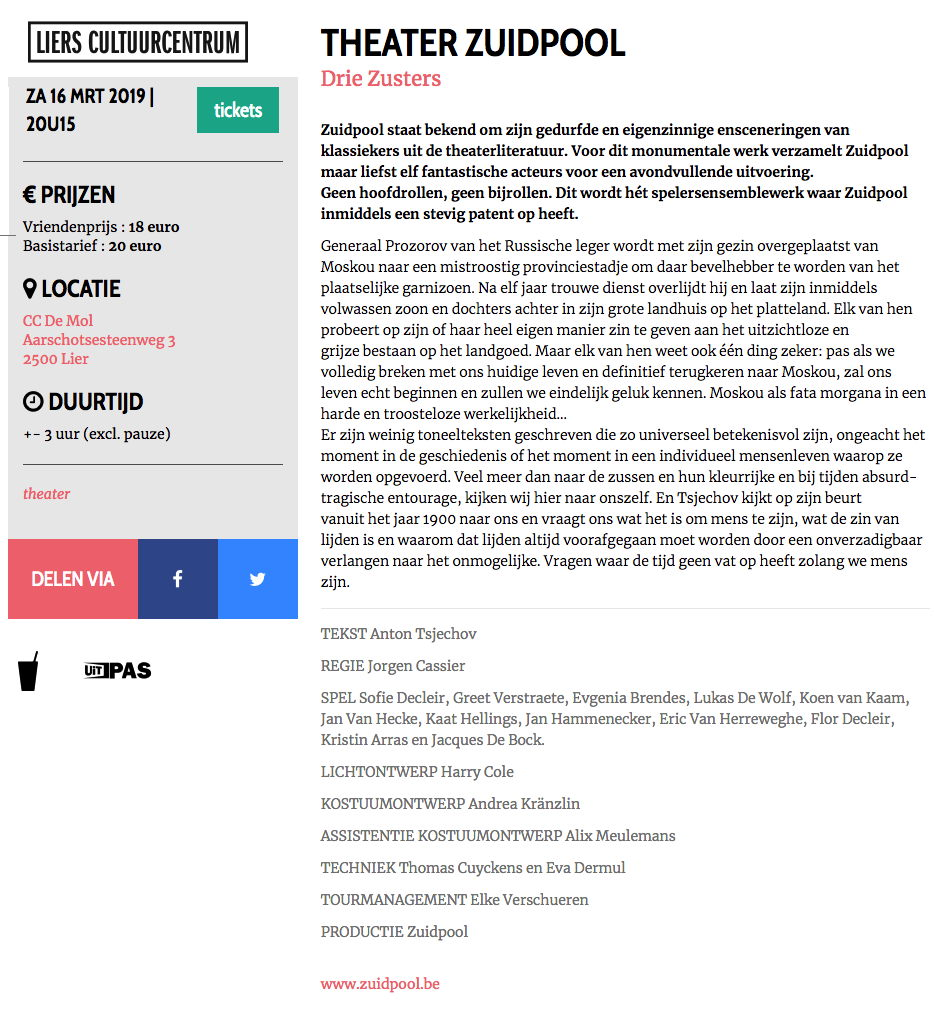 Page Internet. Liers Cultuurcentrum. Theater Zuidpool. Drie zusters. 2019-03-16