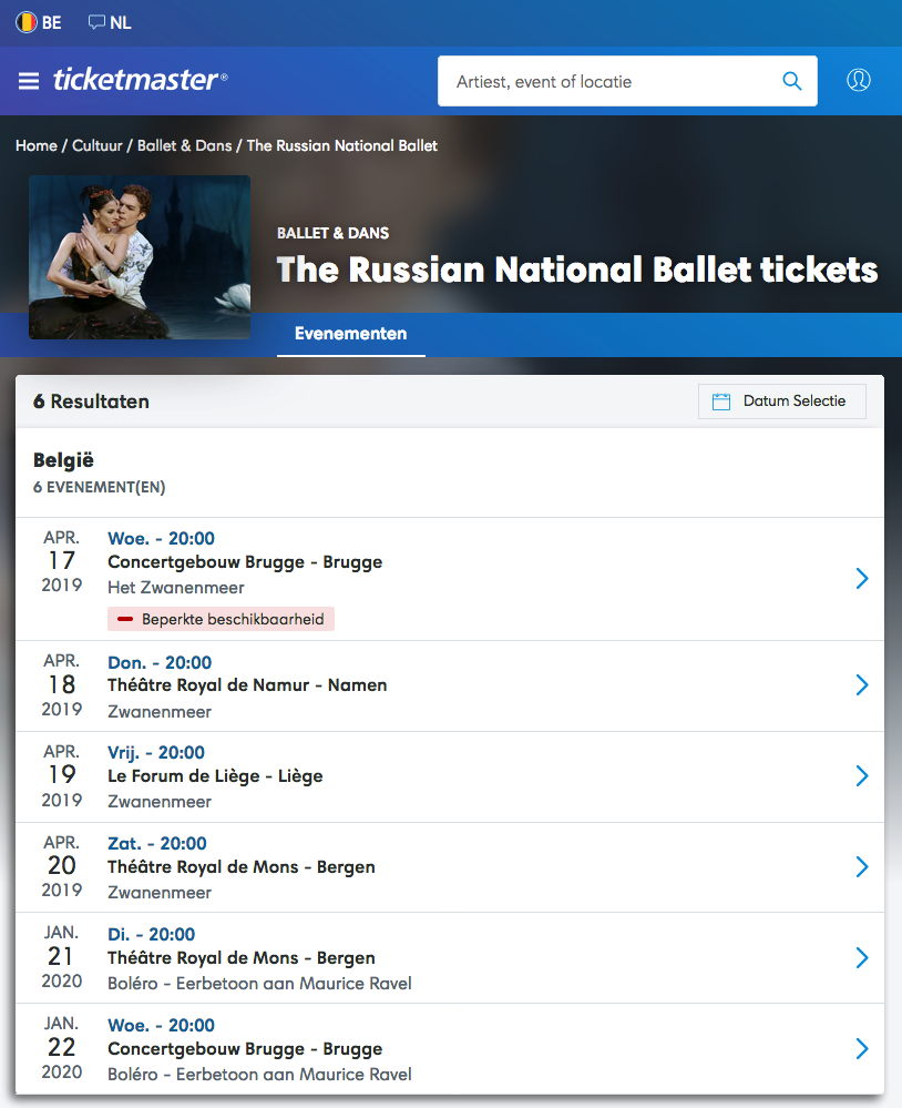 Programme. ticketmaster. The Russian National Ballet tickets. 2019-04-17