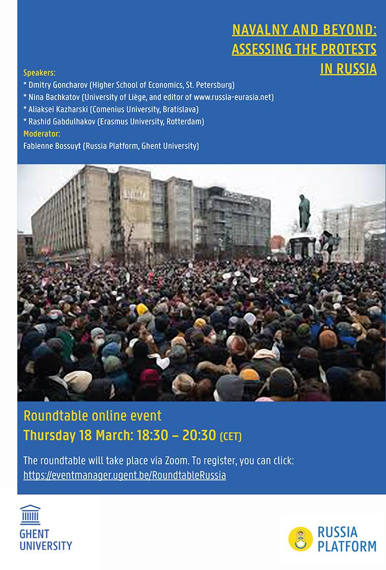 Affiche. Rusland Platform UGent. Navalny and beyond - Assessing the protests in Russia. 2021-03-18